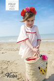 Folly blouse, witte katoen met oranje accent  katoen_