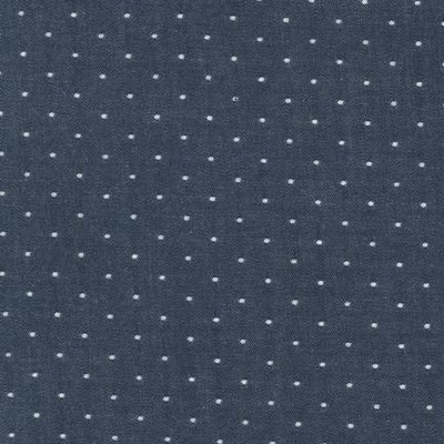 cotton chambray dots indigo