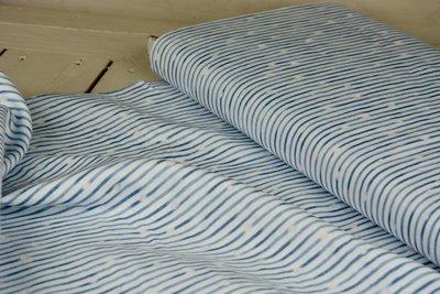 double gauze stripe white blue