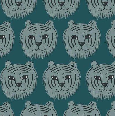tijgers groen - tricotstof