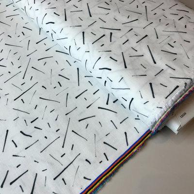 witte katoen met lijntjes - katoen