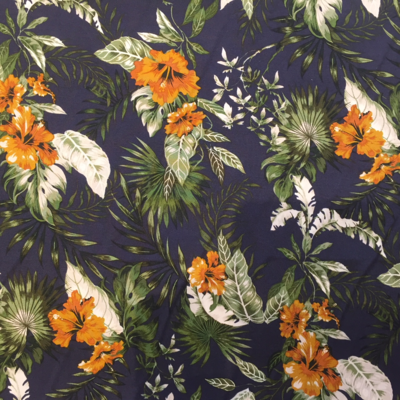 tropical flowers on navy blue - viscose