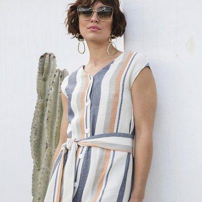 Dubai jurk, zomerse strepen - katoen