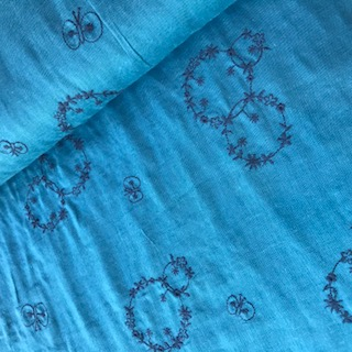 blue with blue embroidery -double gauze