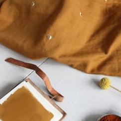 Tissu Stardust ochre - double gauze