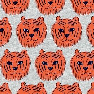 tijgers oranje /licht grijs - tricotstof