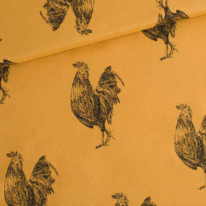 Rooster M chai ochre - cotton lawn