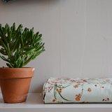 bloemen op mint - dikkere katoen_