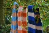 Breipakket voor sjaal in kid annell in roest/blauw_