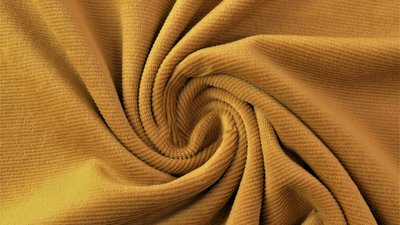 jersey washed cotton cord small rib ochre - nicky velours, corduroy