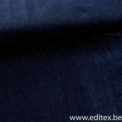 blauw met glitter - rekbare velours