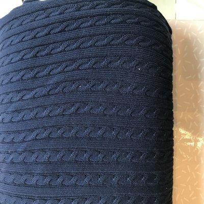 gebreide stof met kabel blauw