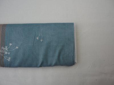 temps salmon & blue - cotton satin