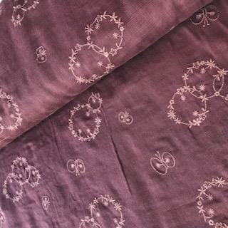 bordeaux with embroidery -double gauze