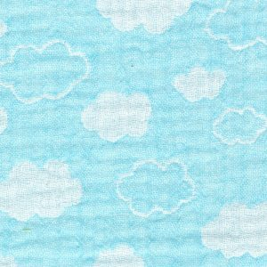 little clouds on blue - triple gauze