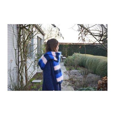 Breipakket voor sjaal in kid annell blauw/roos/felblauw