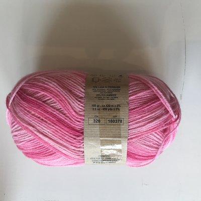 BICE kousenwol met verloop licht roos