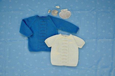 Breipakketje trui blauw schelpjes