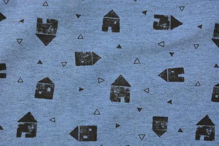 huisjes blauw gemêleerd - jersey