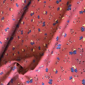 little flower dark red - winter cotton