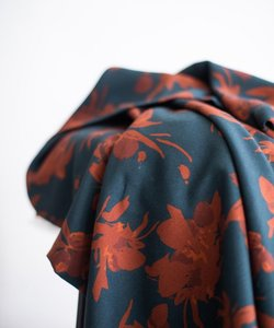 fall flower teal rust - viscose