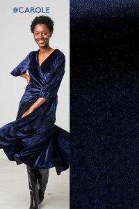 Carolle blauw met glitter - rekbare velours