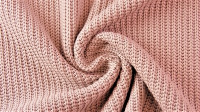 Cotton knitted cable old rose - jersey