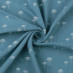 bloemetjes blauw - double gauze