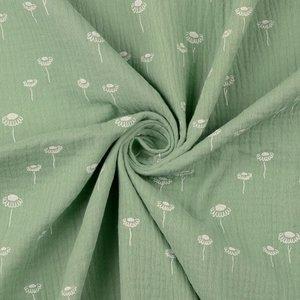 bloemetjes groen - double gauze
