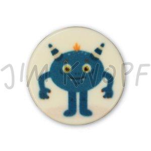 knop monster blauw kunststof 16 mm