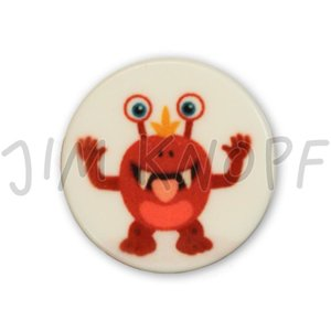 knop monster rood kunststof 16 mm