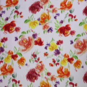 rode bloemen op ecru - viscose