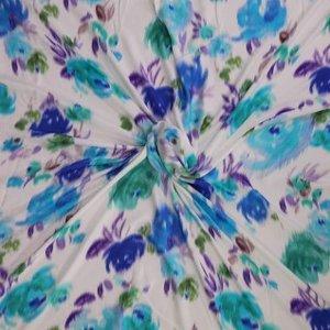 blauwe bloemen op ecru - viscose