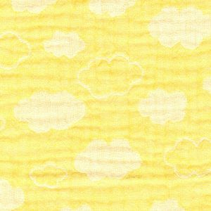 clouds on bright yellow - triple gauze