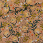 French Terry summer flowers - kameelbruin